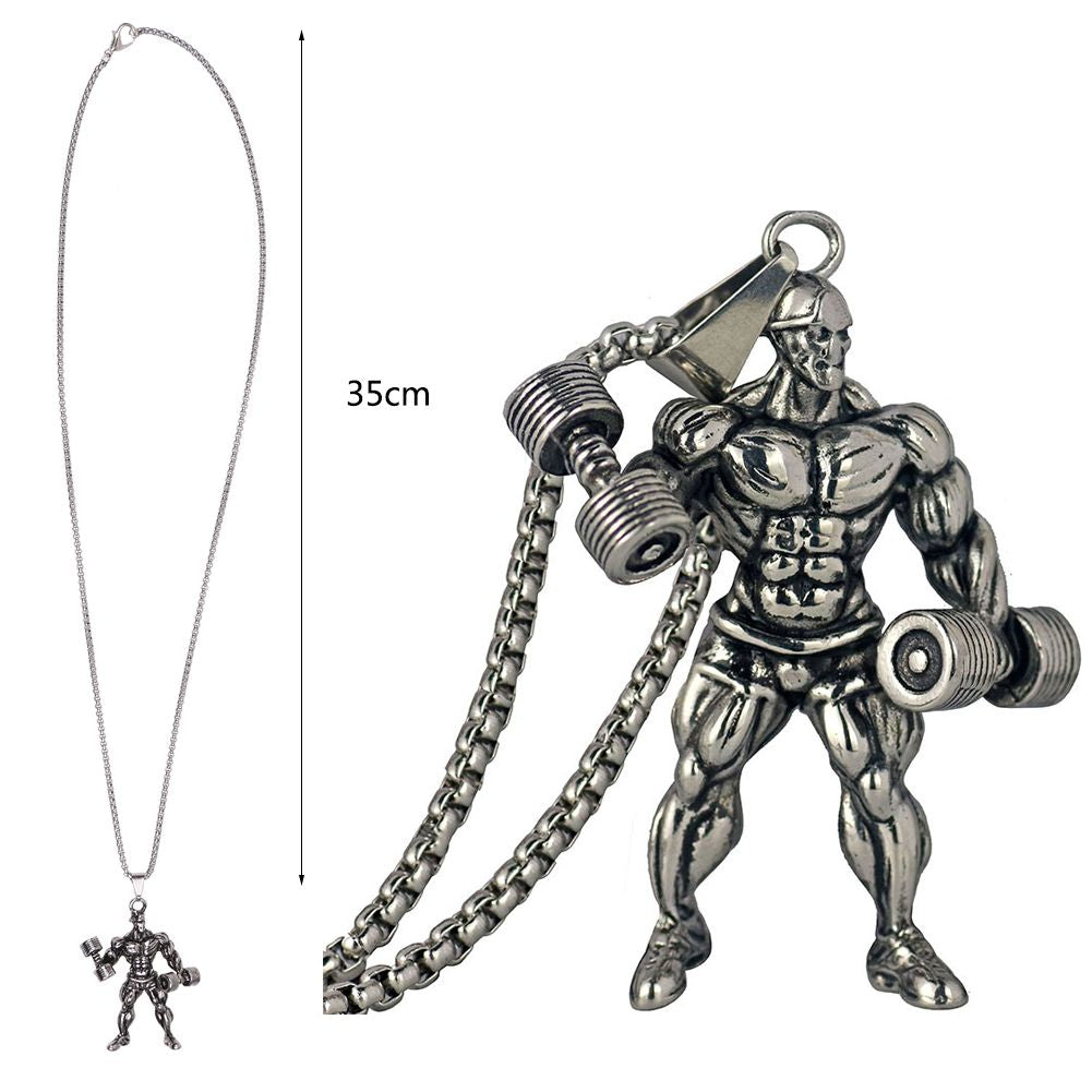 Dumbbell Pendant Necklace Men Stainless Steel Chain Fitness Strong Hippie Necklace Hip Hop Jewelry