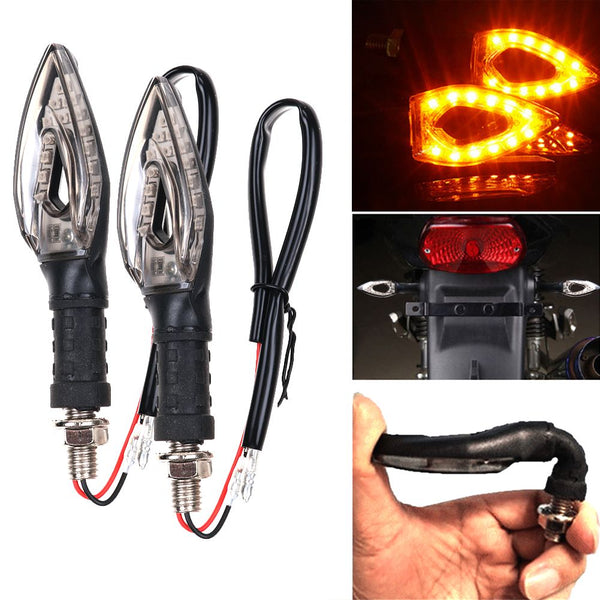 2PCS Universal Motorcycle Motorbike 14 LED Turn Signal Indicators Amber Light