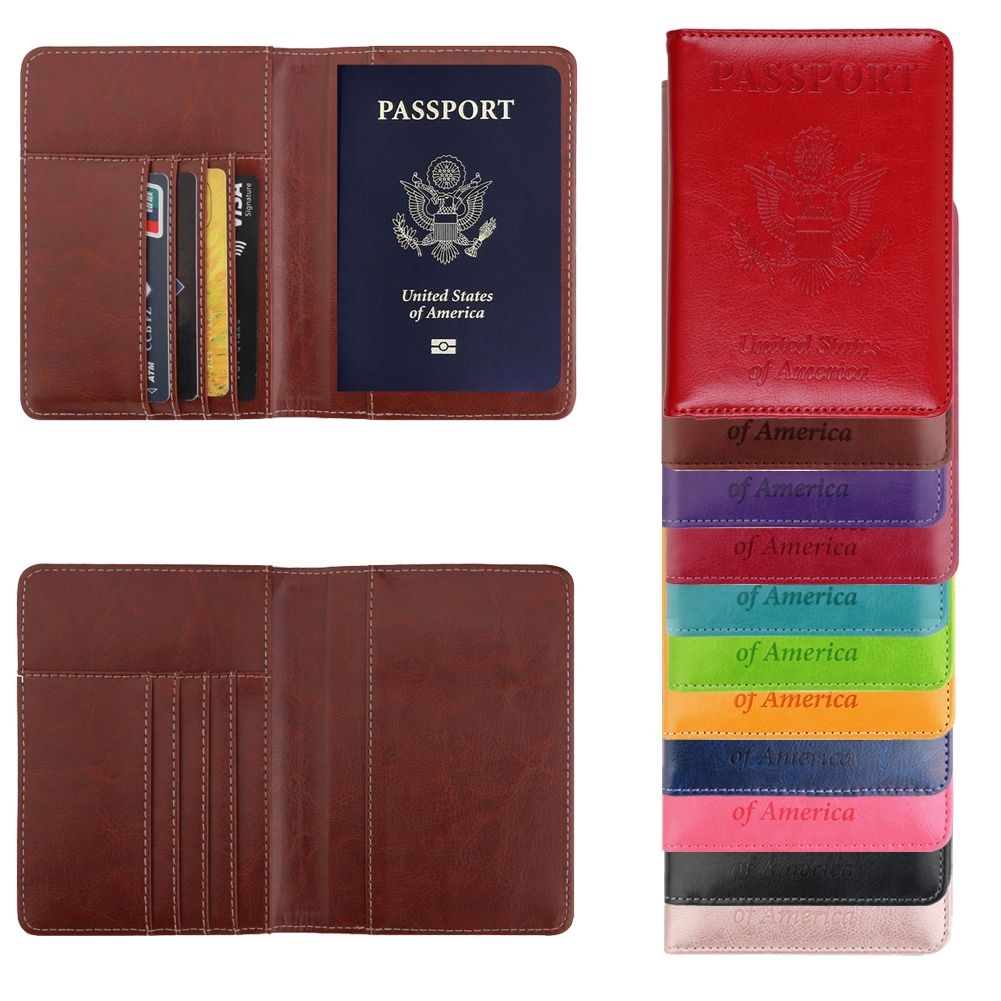 512465a354d Leather Passport Case Holder RFID Blocking Travel ID Credit Card Wallet  Cover ...