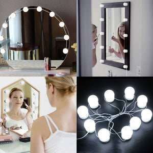 10x Hollywood LED Bulbs Vanity Makeup Dressing Dimmable Mirror Lights White