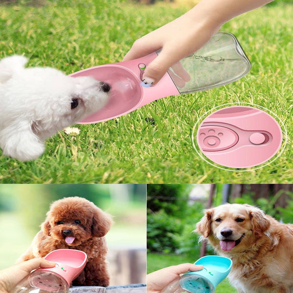 Puppy Dog Cat Pet Water Bottle Cup Drinking Travel Outdoor Portable Feeder 350ML
