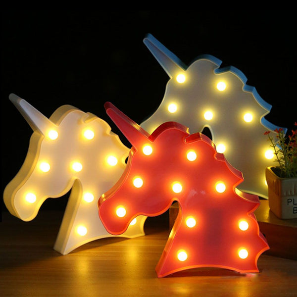 Cute Unicorn Head LED Letter Table Lamp Night Light Children Gifts Room Light