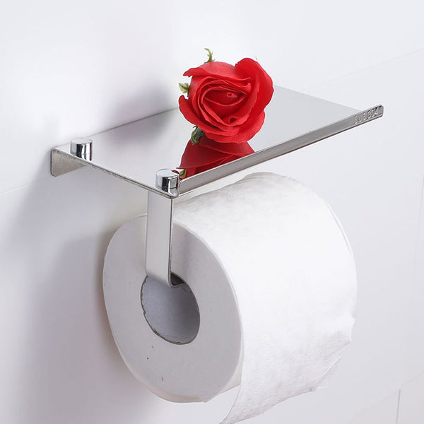 Toilet Roll Paper Phone Holder Bathroom Cloakroom Storage with Shelf Household