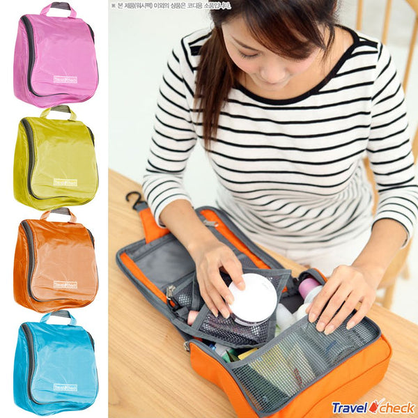 Travel Hanging Large Toiletry Cosmetic Wash Bag with Hook Zipper Makeup