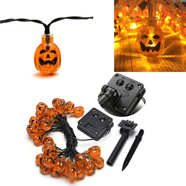 Solar String Light Party Pumpkin 20 LED Garden Halloween Fairy Light Home Decor