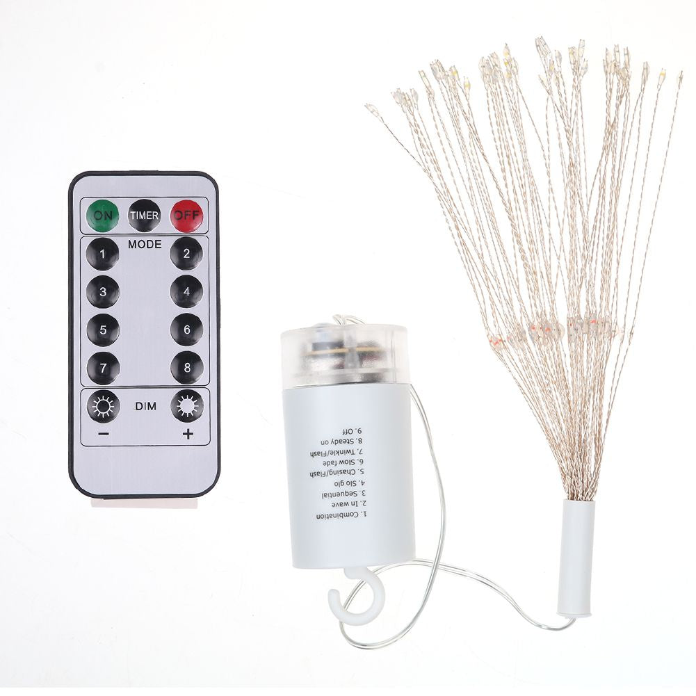 Firework Led String Copper Wire Fairy Garden Xmas Party Lights Timer With Remote Control