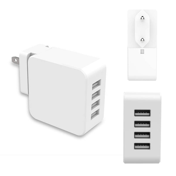 3 in 1 4 Ports 4A Fast Travel Wall USB Charger EU US UK Plug Adapter