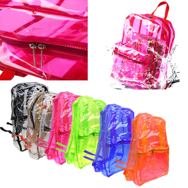 Transparent Clear Backpack Adult Kids Student Sports School Travel Bags NEW