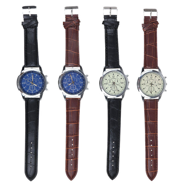 Men Leather Faux Formal Casual Smart Analog Quartz Wrist Watch Watches