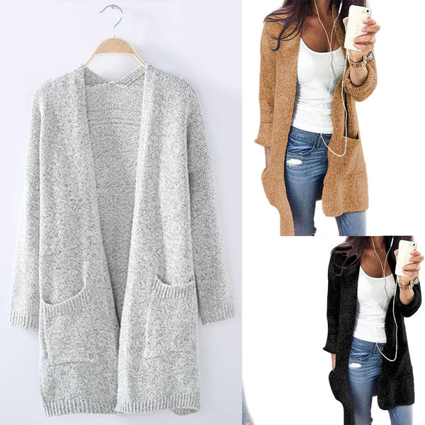 Knitwear Women Cardigan Middle Long Sweater Cardigan Coat with Pockets