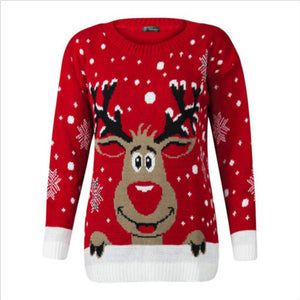 Deer Christmas Sweater Winter Long Sleeve Knitted Pullovers