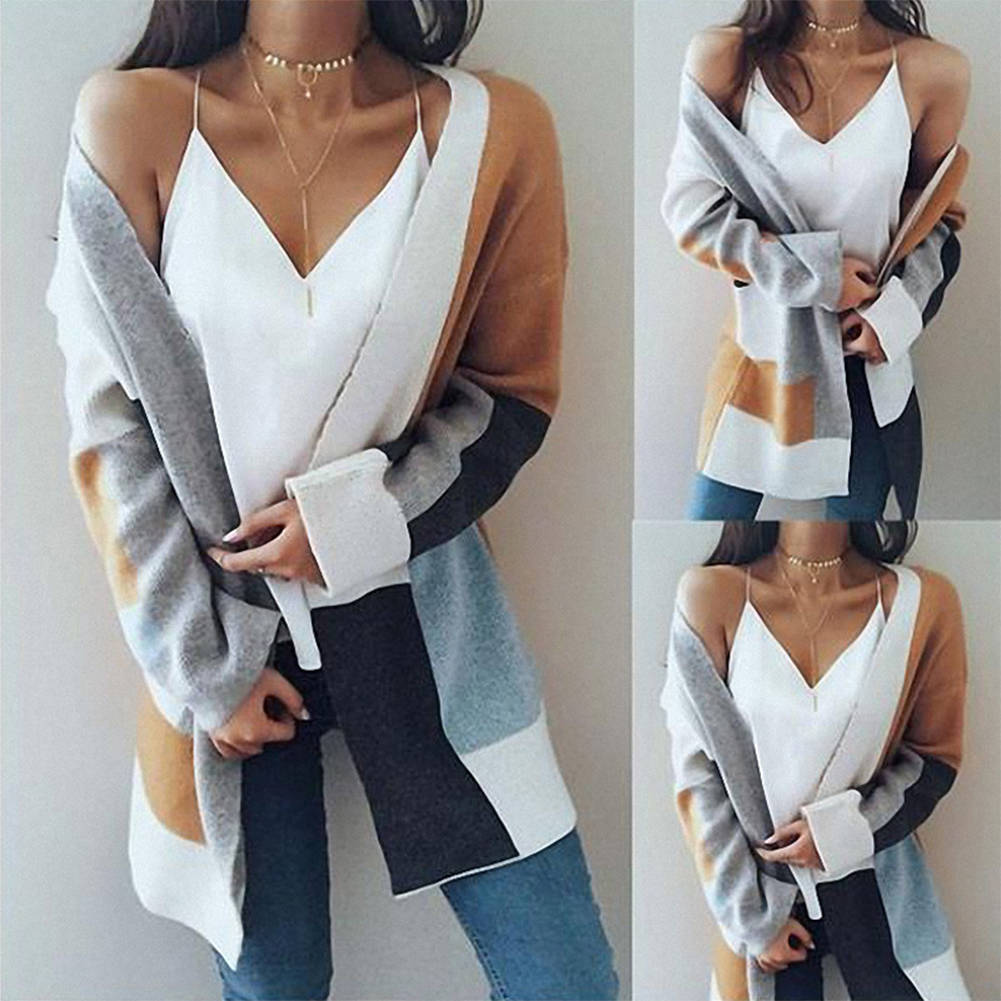Block Color Long Sleeve Loose Cardigan Coat Plus Size Outwear Coat