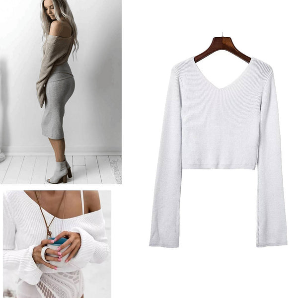 Sexy V Neck Cropped Sweater Long Sleeve Pullovers Femme