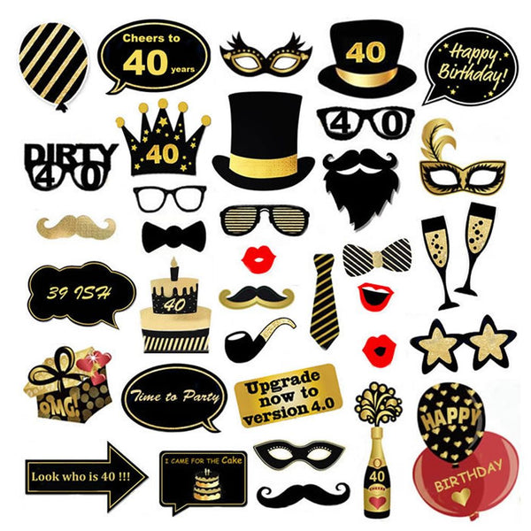 Happy Birthday Props For Party Photo Booth Glitter Accessories Supplies