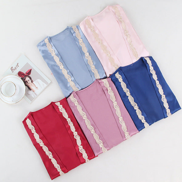 5pcs Floral Lace Trim Pyjama Set With Robe