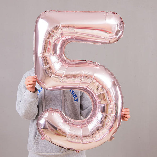 "1 Set 40"" LIGHT ROSE GOLD Number Foil Helium Balloon for Birthday Party Decoration"