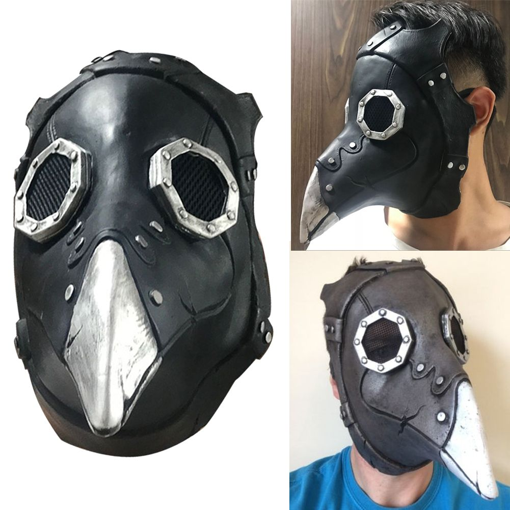 Plague Doctor Dr Crow Long Nose Steampunk Mask Halloween Horror Costume