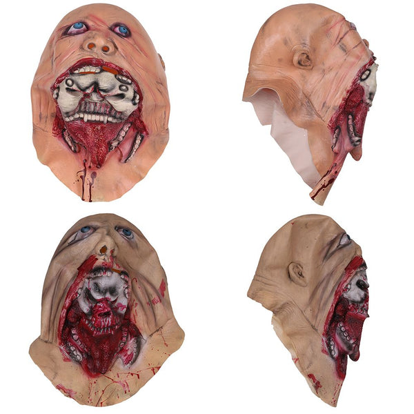 Zombie Halloween Mask Melting Face Latex Costume Dead Scary Head Mask Bloody