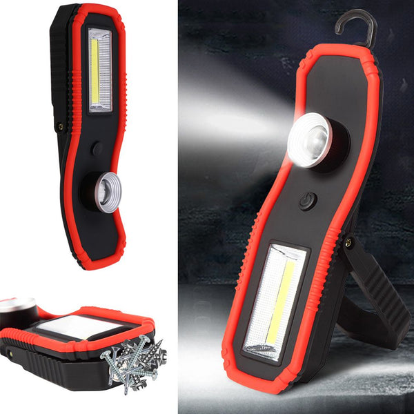 COB XPE LED Work Lights Camping Focus Magnetic Flashlight with Hanging Hook