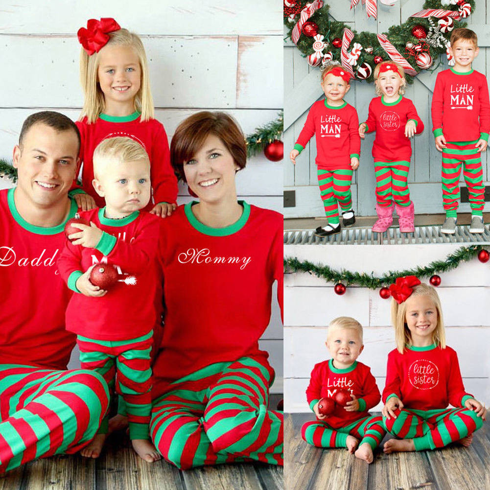 Christmas Family Matching Pajamas Set Adult Mens Womens Kids Sleepwear