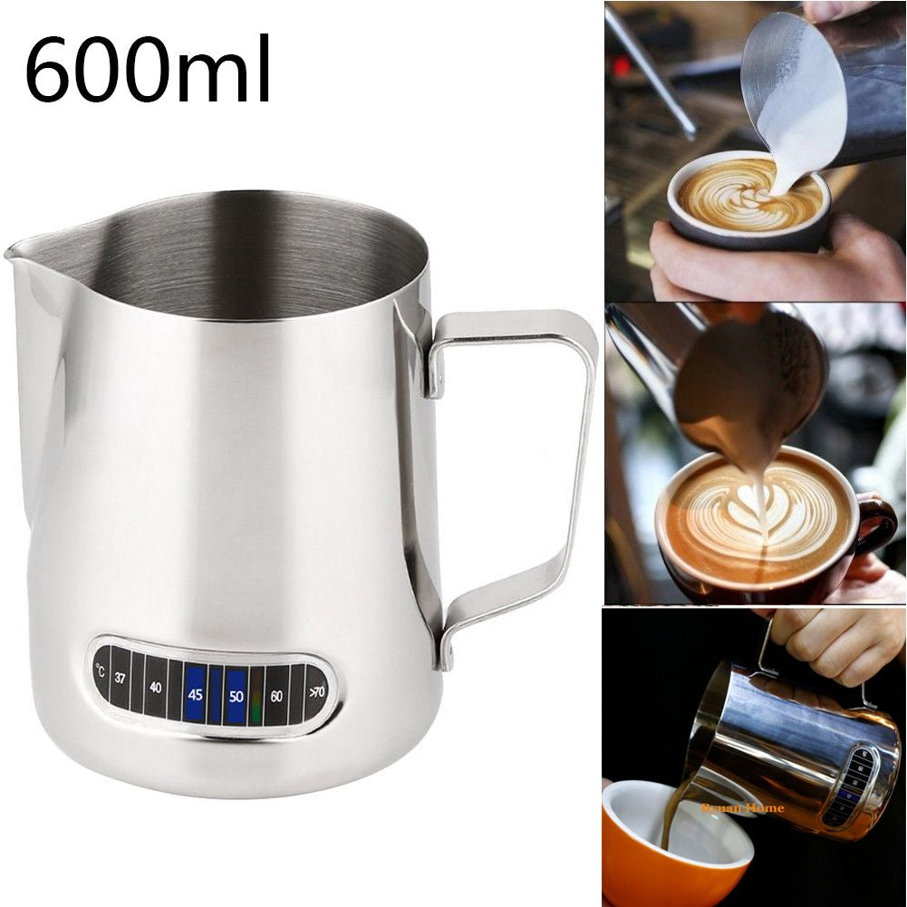 600ml Espresso Stainless Steel Coffee Frothing Milk Latte Jug Thermometer