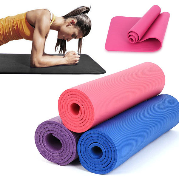 Yoga Mat for Pilates Gym Exercise Carry Strap 15mm Thick NBR