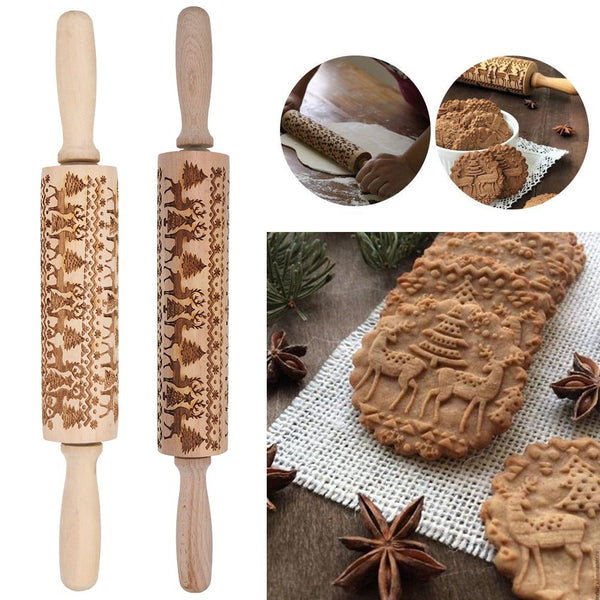 Christmas Wooden Embossed  Embossing Rolling Pin Engraved Rolling Pin