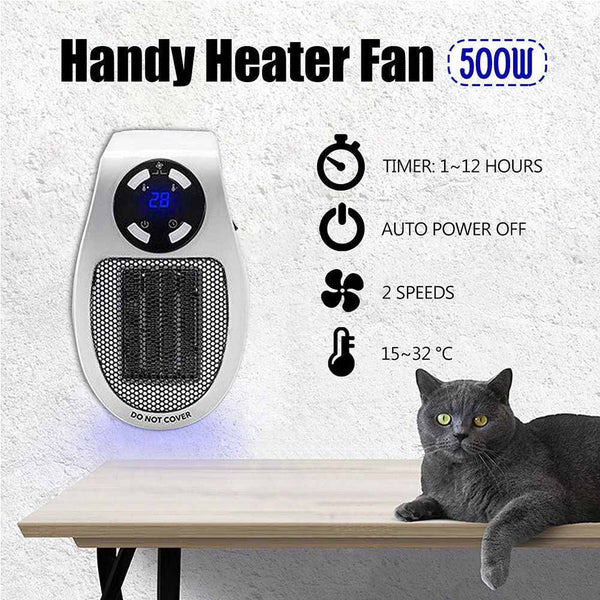 500W Portable Mini Electric Heater Fan Desktop Household Wall Handy Heater Stove Radiator Warmer Machine for Winter