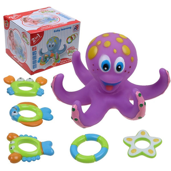 Floating Bath Toys Baby Octopus Kids Infant Toddlers 5 Rings Learn Play Fun