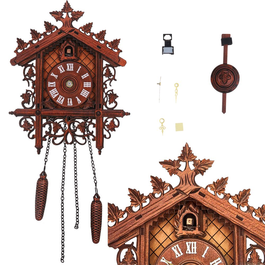 Vintage Cuckoo Clock Forest Quartz Swing Wood Wall Clock Handmade Room Decor