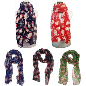 Christmas Festive Cute Scarf Santa Claus Print Lady Women Shawl Wrap