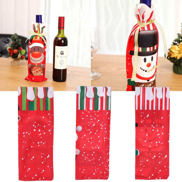 Red Wine Bottle Cover Bags Snowman/Santa Claus/Moose Christmas Decoration