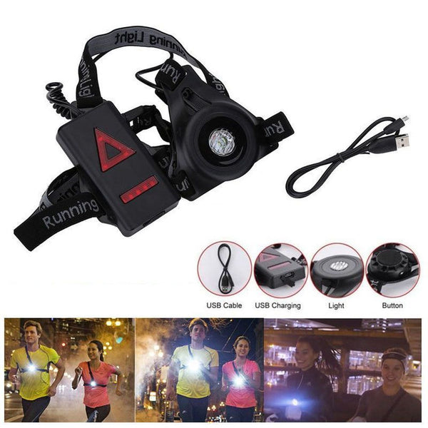 Waterproof LED Running Chest Lamp Warning Light Walking Torch Night Flash
