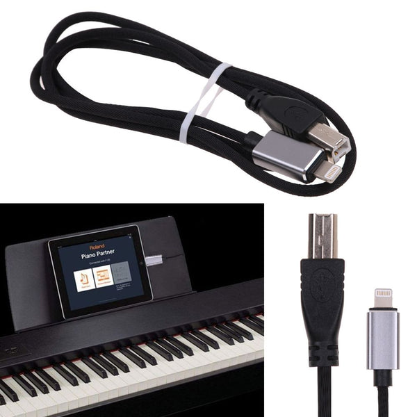 8 Pin to MIDI USB 2.0 Type B Cable Keyboard Converter Cord for iPhone iPad