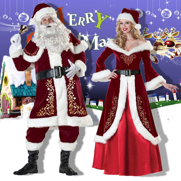 Adult Santa Costume Regal Plush Father Christmas Suit Fancy Dress Outfit