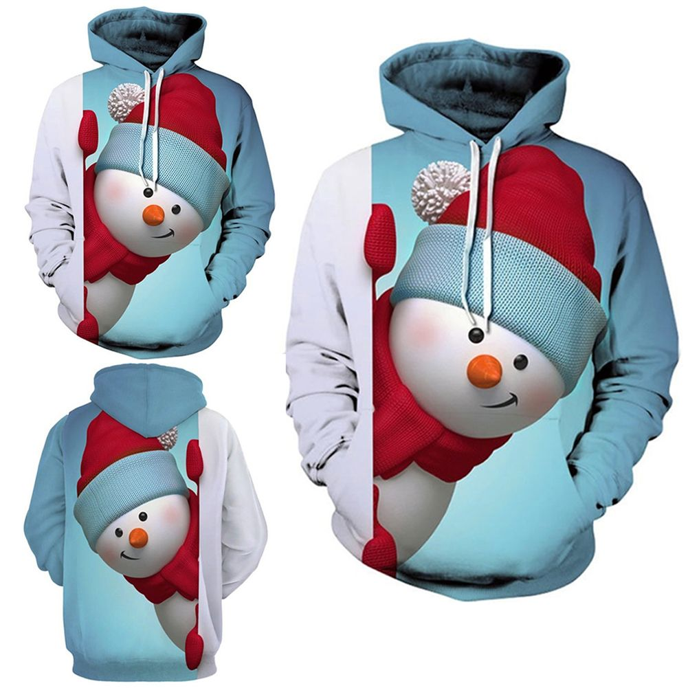 Snowman Christmas 3D Print Women/Men Sweatshirt Hoodie Pullover Tops Jumper