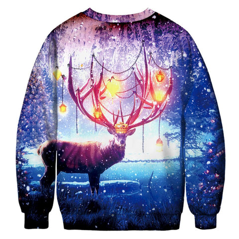 Mens Women Christmas 3D Body Print T-Shirt Long Sleeve Tops Star elk Shirts