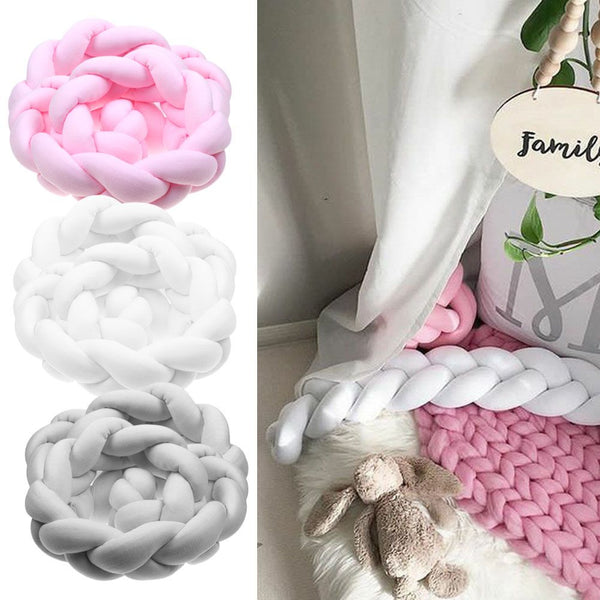 Baby Infant Plush Crib Bumper Bed Bedding Cot Braid Pillow Pad Protector