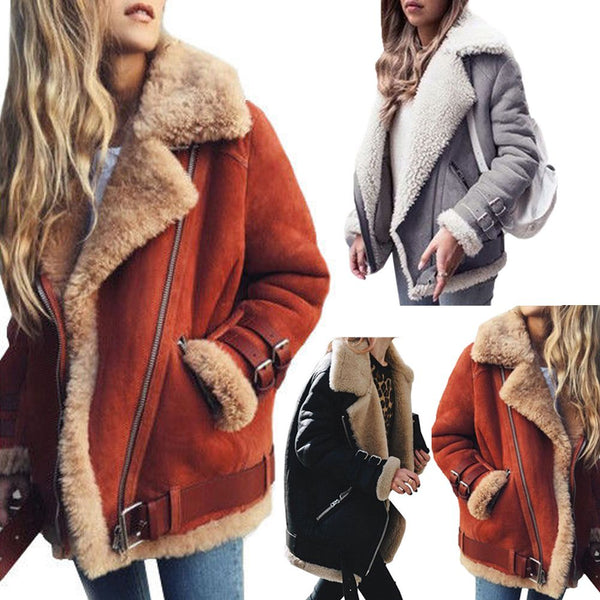 Women Biker Aviator Motor Jacket Coat Winter Lapel Outwear