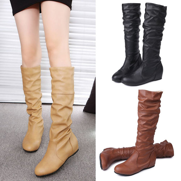 Womens Winter PU Leather Flat Knee High Boots Ladies Riding Biker Shoes