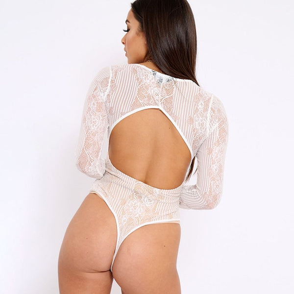 Long Sleeve Lace Bodysuit Sexy Backless Woman Body