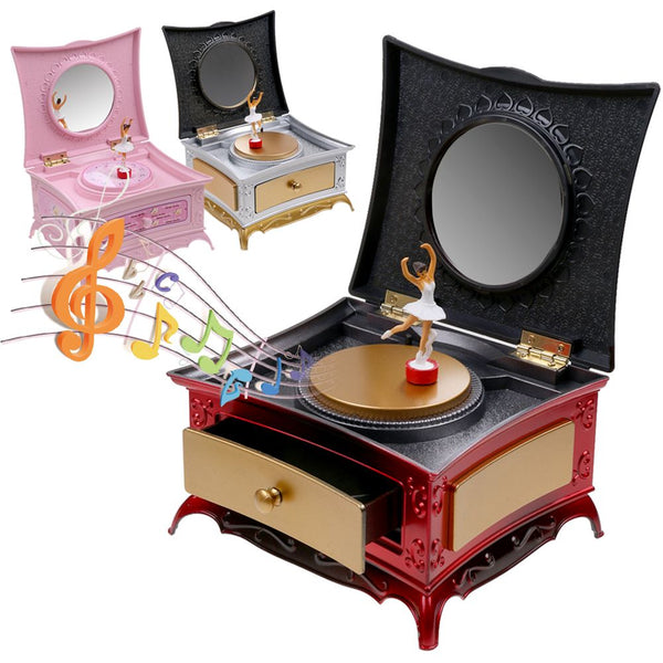 Classical Rotating Girl Music Box Jewelry Storage Box With Makeup Mirror