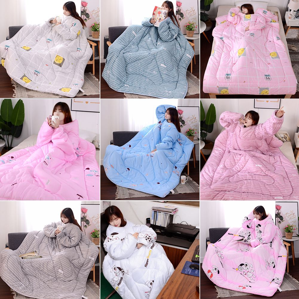 Winter Lazy Quilt With Sleeves Quilt Winter Warm Thickened Washed Quilt