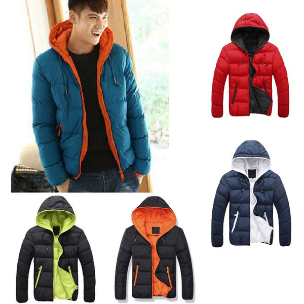 Mens Padded Bubble Coat Hooded Quilted Puffer Jacket Warm Winter Fashion