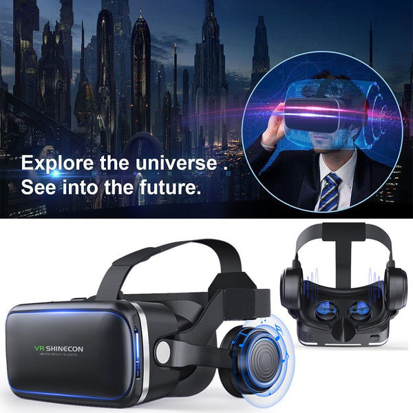 VR Shinecon 6.0 3D Virtual Reality Glasses For Iphone Samsung With Headphone