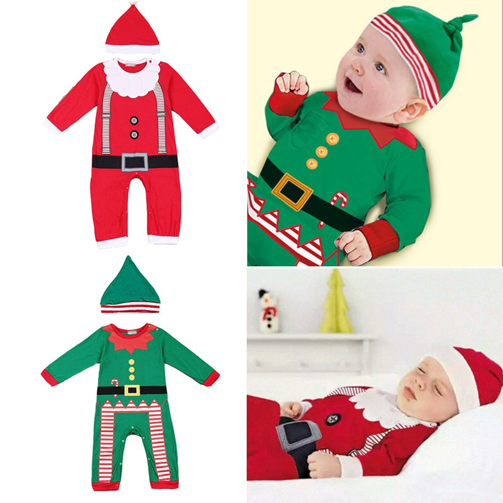 Christmas Baby Girls Boys Santa Claus Jumpsuit Romper with Hat Outfits