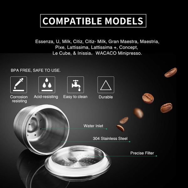 Stainless Steel Coffee Capsule Cup Reusable Refillable Pod For Nespresso