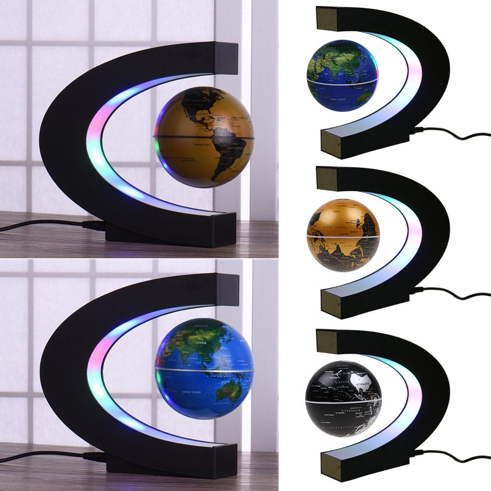 C Shape LED Magnetic Levitation Floating Globe World Map Rotating Home Decor