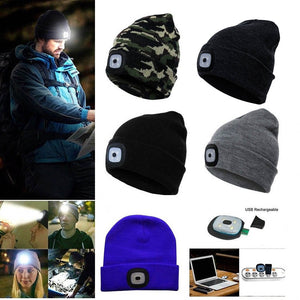 LED Light Headlamp Cap Knit Beanie Hat for Hunting Camping Running Fishing