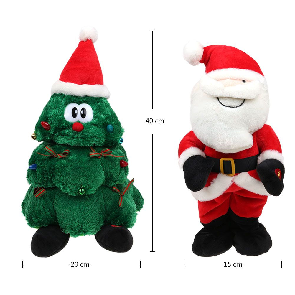 Singing Christmas Decorations: Plush Dancing Singing Christmas Light Up Toy Animated